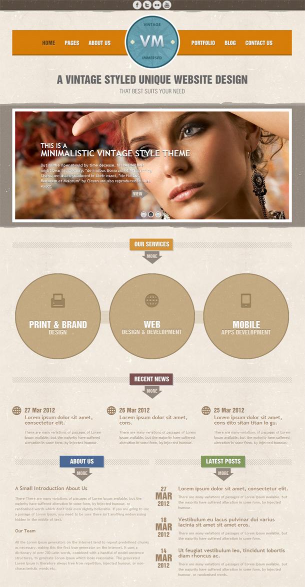 Vintage Immersed Premium HTML Template