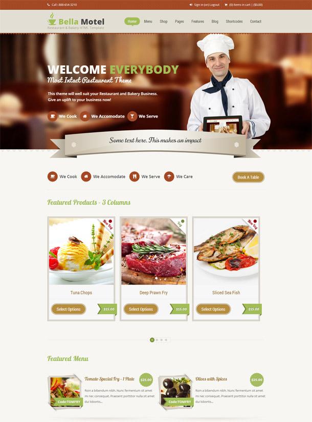 Bella Motel – Restaurant & Bakery Responsive HTML