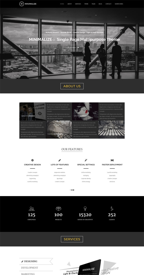 Minimalize | Multipurpose One Page Template
