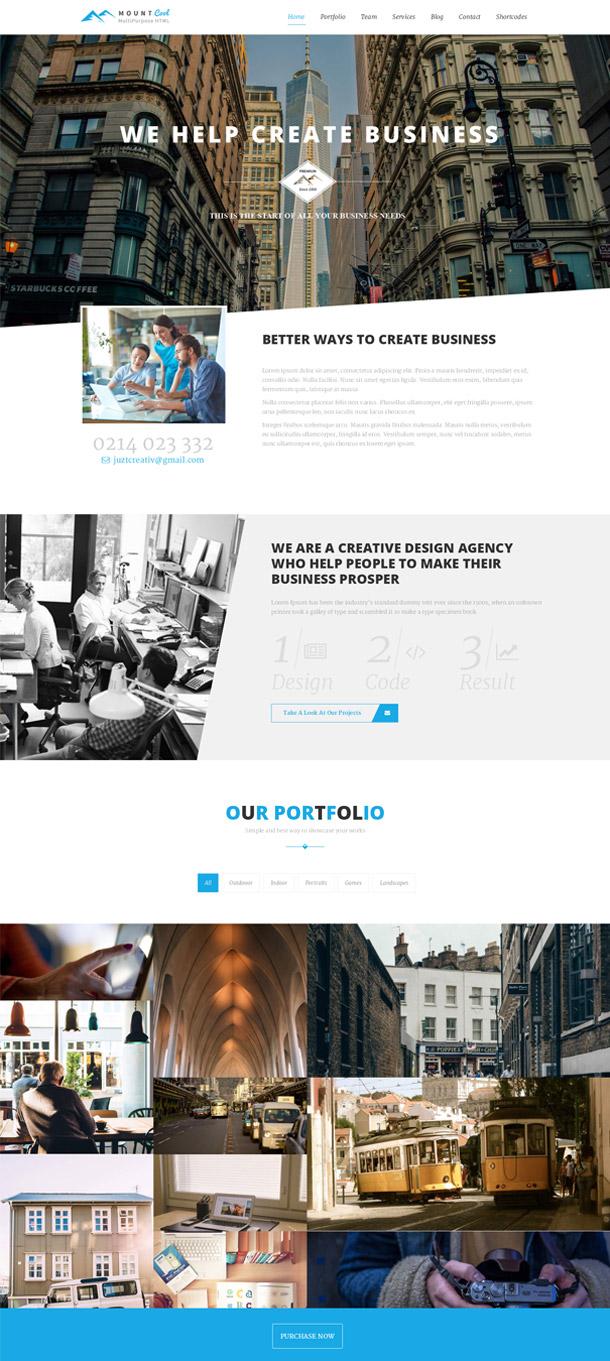 Mountcool – Creative One Page Multipurpose Template